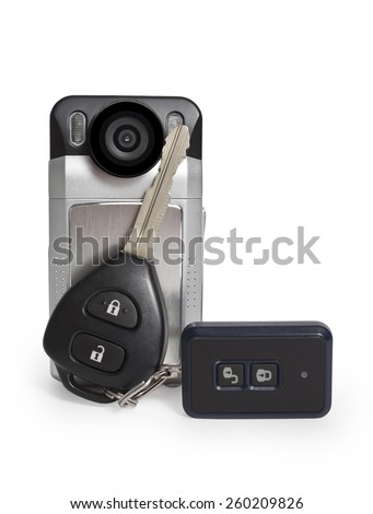 DVR with car keys isolated on white background - stock photo