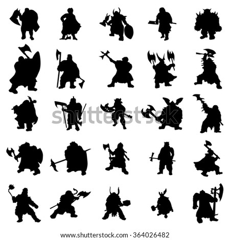 Dwarf silhouettes set isolated on white background - stock photo
