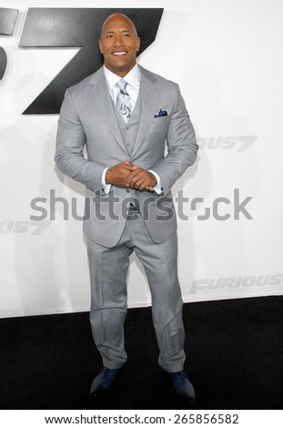 Dwayne 'The Rock' Johnson at the Los Angeles premiere of 'Furious 7' held at the TCL Chinese Theatre IMAX in Hollywood, USA on April 1, 2015.  - stock photo