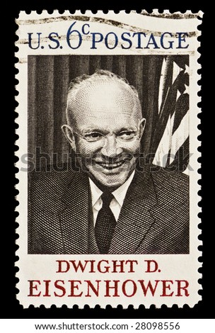 Dwight D. Eisenhower 34th President of the United States (1953?1961).  Issued in 1969 - stock photo