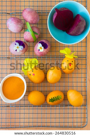 Dyeing Easter eggs natural way with turmeric for mustard - yellow color and with beet for pink color. - stock photo