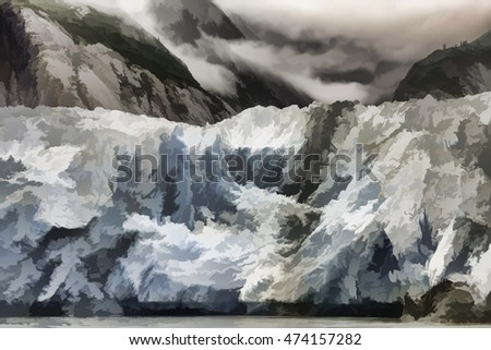 Dynamic abstract of the terminus of Sawyer Glacier at the end of Tracy Arm fjord in southeastern Alaska, USA, with digital painting effect