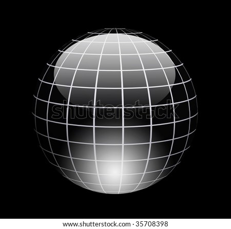 Dynamic chrome sphere with light effects over black background