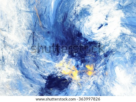 Dynamic clouds. Abstract bright motion composition. Modern futuristic blue background. Color artistic pattern of paints. Fractal artwork for creative graphic design - stock photo