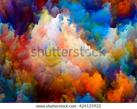 Dynamic Color series. Arrangement of Colorful fractal clouds and graphic elements on the subject of forces of nature, art, design and creativity - stock photo