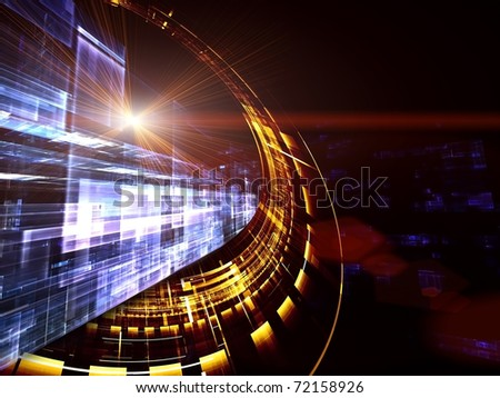 Dynamic interplay of motion forms in three dimensional space on the subject of space technologies, science  and progress - stock photo