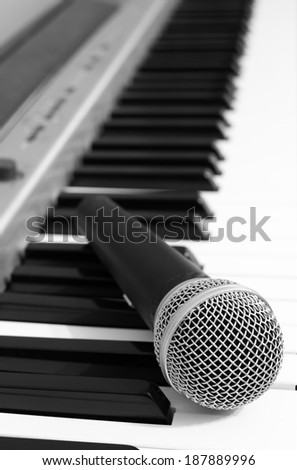 Dynamic Microphone on The Piano, B&W film processed