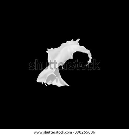Dynamic milk splash, isolated on black - stock photo