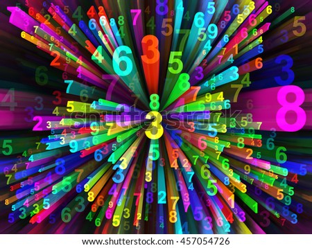 Dynamic Number series. Abstract background made of digital symbols and motion trails for use with projects on science, technology and education - stock photo