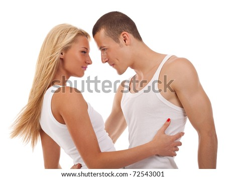 dynamic picture of a casual young couple - stock photo