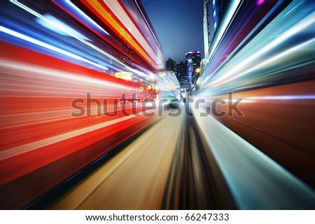 Dynamic red and blue motion blur abstract background - stock photo