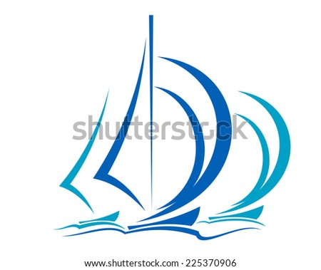 Dynamic sailboats racing before the wind across the ocean in shades of blue over white