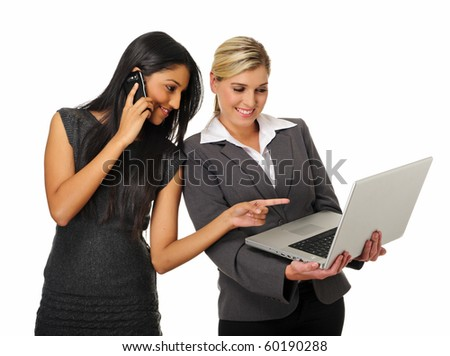Dynamic team of business woman discuss work - stock photo