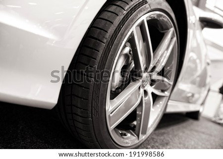 Dynamic view of the modern white car - stock photo