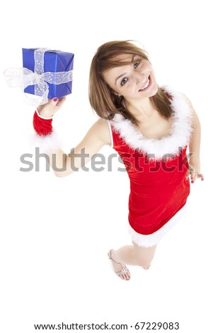 dynamic view of young woman offering present