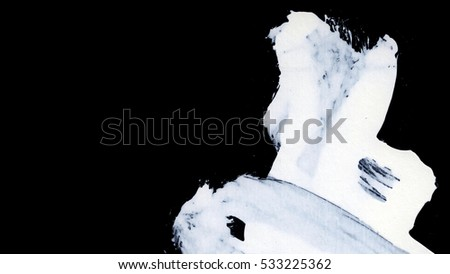 Dynamic White brush strokes on black background zen style background and texture