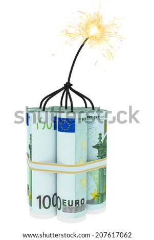 Dynamite composed of euro bills with a burning wick. High resolution 3D image - stock photo