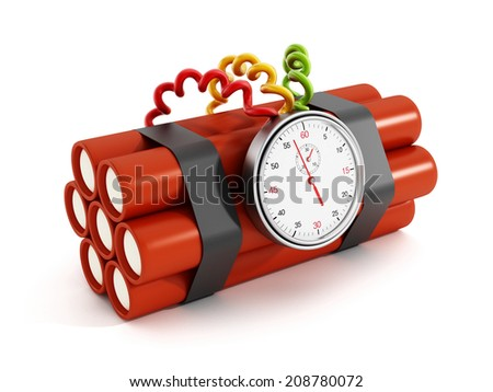 Dynamites with analogue timer set to one second - stock photo