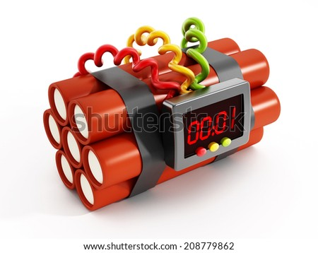 Dynamites with electronic timer set to one second - stock photo