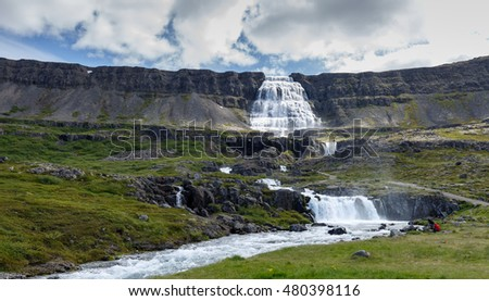 Dynjandi waterfall at the west fjords of Iceland