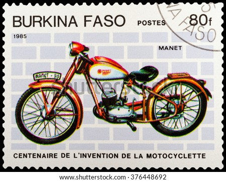 DZERZHINSK, RUSSIA - FEBRUARY 04, 2016: A postage stamp of BURKINA FASO shows vintage motorcycle, Manet, circa 1985 - stock photo