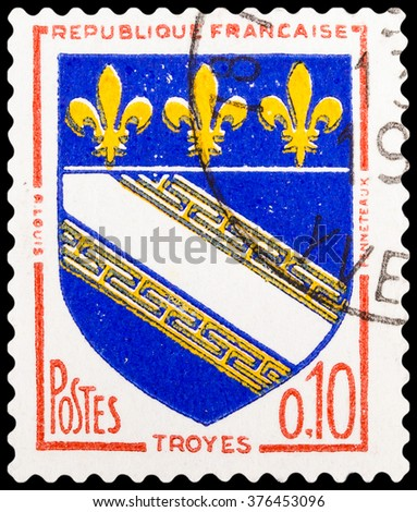 DZERZHINSK, RUSSIA - FEBRUARY 04, 2016: A postage stamp of FRANCE shows sign of Troyes, circa 1950 - stock photo