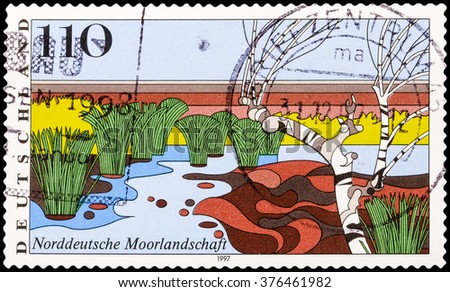 DZERZHINSK, RUSSIA - FEBRUARY 04, 2016: A postage stamp of GERMANY shows North German Moorland, Scenic Region, circa 1997 - stock photo