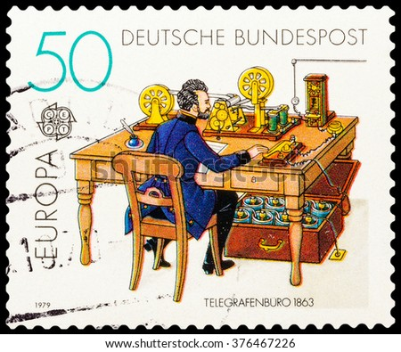 DZERZHINSK, RUSSIA - FEBRUARY 04, 2016: A postage stamp of GERMANY shows Telegraph office in 1863, circa 1979 - stock photo