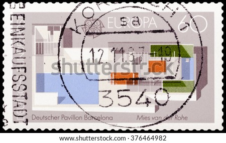 DZERZHINSK, RUSSIA - FEBRUARY 04, 2016: A postage stamp of GERMANY shows the German Pavilion, designed by Ludwig Mies van der Rohe, World's Fair, Barcelona, circa 1987 - stock photo
