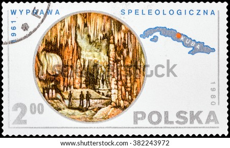 DZERZHINSK, RUSSIA - FEBRUARY 11, 2016: A postage stamp of POLAND shows Speleological Expedition Cuba, circa 1980 - stock photo
