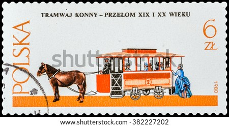 DZERZHINSK, RUSSIA - FEBRUARY 11, 2016: A postage stamp of POLAND shows streetcar carriage with a horse, circa 1980 - stock photo