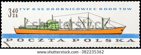 DZERZHINSK, RUSSIA - FEBRUARY 11, 2016: A postage stamp of POLAND shows Various Polish Cargo Ships, circa 1961 - stock photo