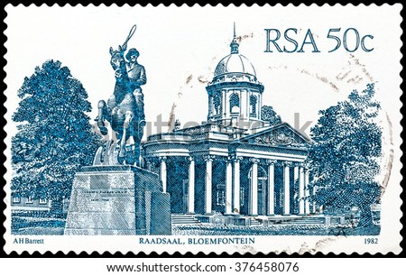 DZERZHINSK, RUSSIA - FEBRUARY 04, 2016: A postage stamp of SOUTH AFRICA shows Raadsaal, Bloemfontein, circa 1982 - stock photo