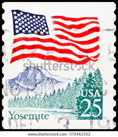 DZERZHINSK, RUSSIA - FEBRUARY 04, 2016: A postage stamp of USA shows Yosemite National Park is a United States National Park in east central California, circa 1980 - stock photo