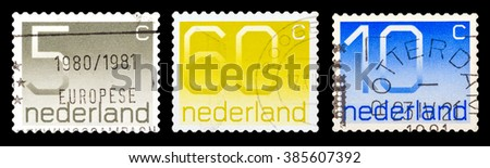 DZERZHINSK, RUSSIA - FEBRUARY 04, 2016: Set of a postage stamp of NETHERLANDS shows numeric value, circa 1980 - stock photo
