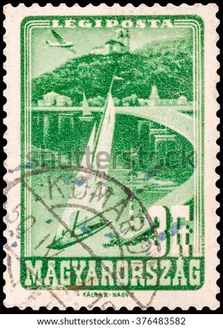 DZERZHINSK, RUSSIA - JANUARY 18, 2016: A postage stamp of HUNGARY shows Lake Balaton, circa 1947 - stock photo