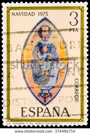 DZERZHINSK, RUSSIA - JANUARY 18, 2016: A postage stamp of SPAIN shows Madonna, Mosaic, Navarra Cathedral, Christmas, circa 1975 - stock photo