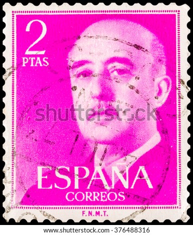 DZERZHINSK, RUSSIA - JANUARY 18, 2016: A postage stamp of SPAIN shows portrait of Francisco Franco, circa 1961 - stock photo