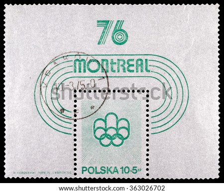 DZERZHINSK, RUSSIA - JANUARY 13, 2016: A stamp printed in Poland shows Montreal Games Emblem 1976,  circa 1976