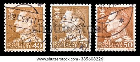 DZERZHINSK, RUSSIA - JANUARY 18, 2016: Set of a postage stamp of DENMARK shows portrait of King Frederick IX (Christian Frederik Franz Michael Carl Valdemar Georg), circa 1961 - stock photo