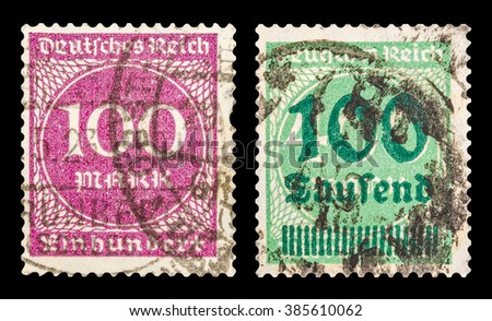 DZERZHINSK, RUSSIA - JANUARY 18, 2016: Set of a postage stamp of GERMANY shows numeric value, circa 1923