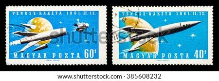 DZERZHINSK, RUSSIA - JANUARY 18, 2016: Set of a postage stamp of HUNGARY shows venusz-raketa, circa 1961 - stock photo