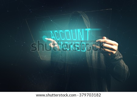 E-bank account hacked, unrecognizable man stealing personal data, internet cyber crime concept. - stock photo