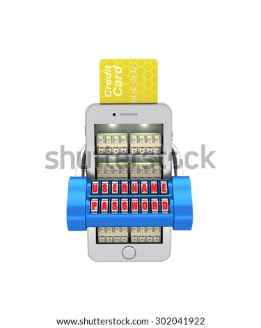E-banking. Stack of currency in the smartphone protected. 3d illustration on a white background. Render. - stock photo