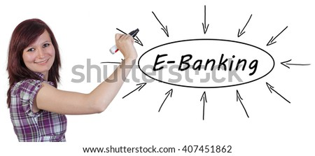 E-Banking - young businesswoman drawing information concept on whiteboard.  - stock photo