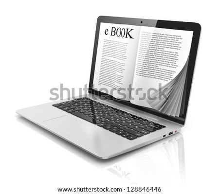 e-book 3d concept - book instead of display on the notebook, laptop - stock photo