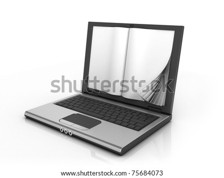 e-book 3d concept - book instead of display on the notebook, laptop, netbook - stock photo