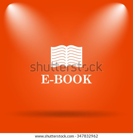 E-book icon. Internet button on orange background.  - stock photo