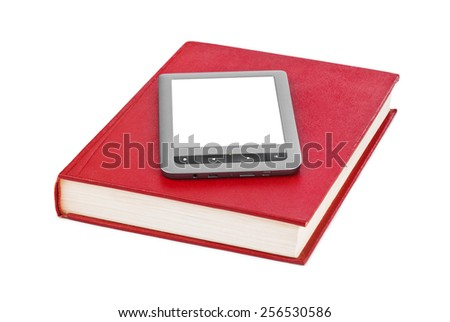 E-book reader and book isolated on white background - stock photo