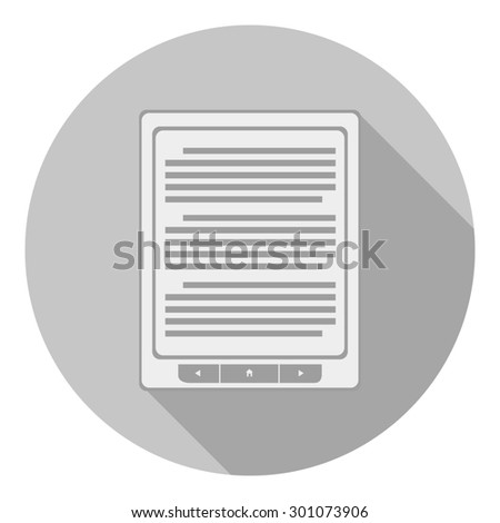 e-book reader icon in flat style. isolated on gray background.  - stock photo